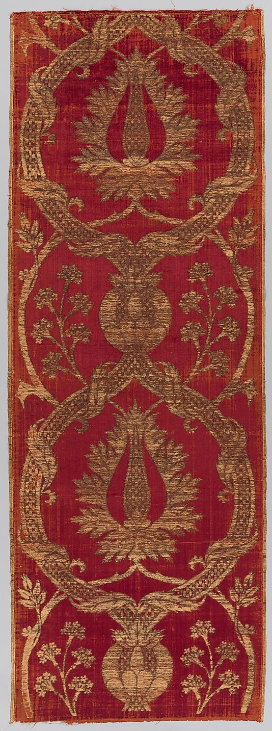 16th century ~ Turkey ~ Islamic ~ Silk, metal wrapped thread; cut and voided velvet, brocaded