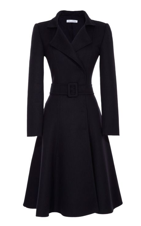 Belted Full-Skirted Coat by Oscar de la Renta