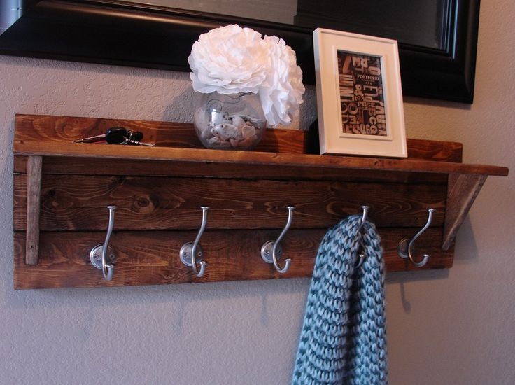 Rustic Modern 5 Hanger Coat Rack with Shelf by KeoDecor on Etsy, $95.00