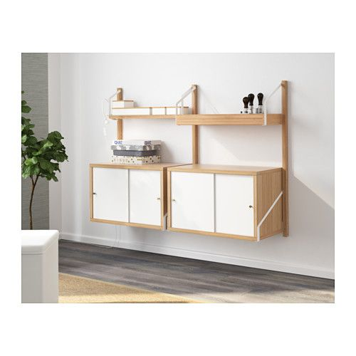 SVALNÄS Wall-mounted storage combination, bamboo, white bamboo/white 51 1/8x13 3/4x36 5/8