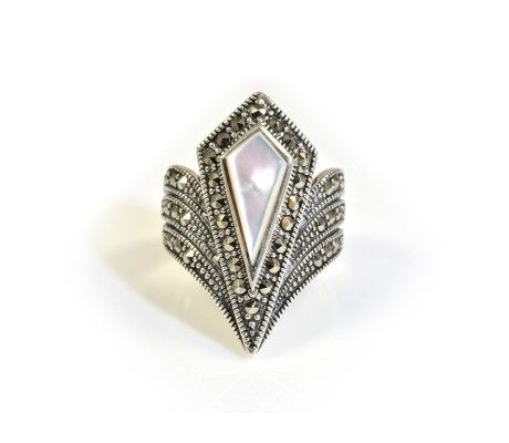 Classic Art Deco jewellery is timeless, this  Marcasite & Mother-of-Pear Ring is a perfect example. £66.25