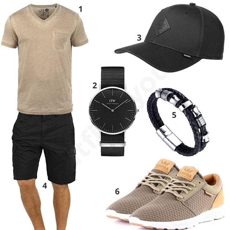 Beige-Schwarzes Herren-Outfit mit Armband (m0359) #outfit #style #fashion #menswear #mensfashion #inspiration #shirts #weste #cloth #clothing #männermode #herrenmode #shirt #mode #styling #sneaker