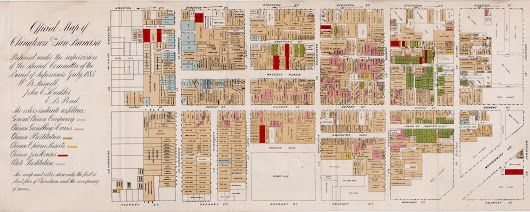 "San Francisco's Chinatown during the anti-Chinese hysteria of 1885  A scarce and fascinating map of San Francisco's Chinatown issued in 1885, ""at the he... - Boston Rare Maps Inc - Google+"
