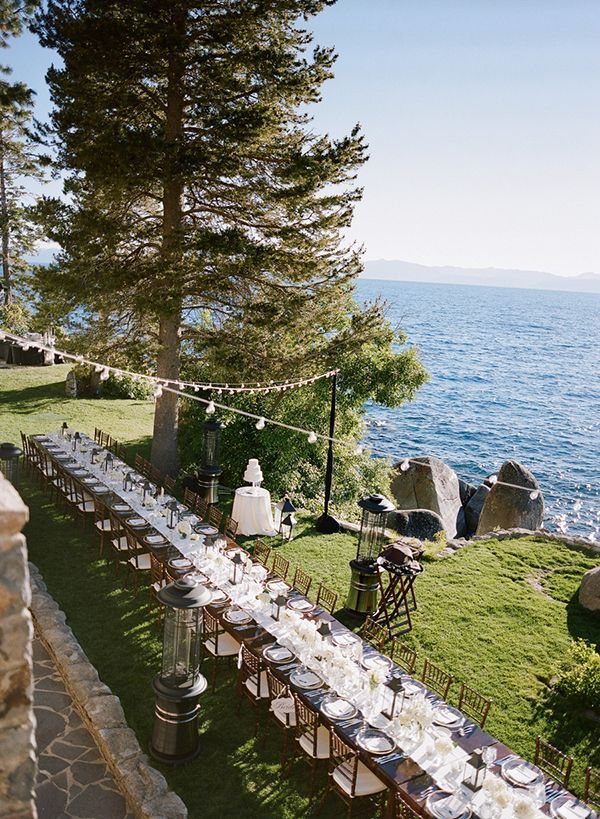 Lake Tahoe's Thunderbird Lodge is a gorgeous wedding venue where you and your guests can enjoy dinner right on the lake! Photo: Josh Gruetzmacher | Snippet & Ink
