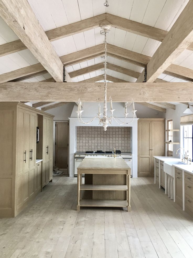 Raw wood kitchen, kitchen design, cathedral ceiling, beamed ceiling