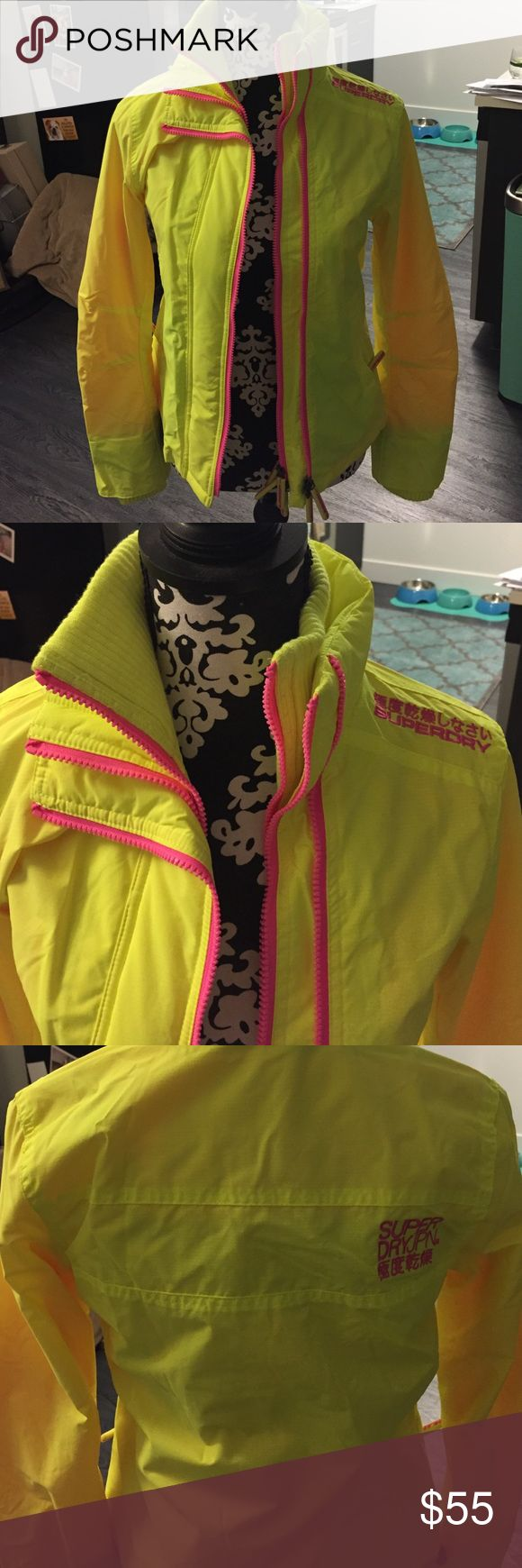 Superdry jacket New! Hot pink and hot yellow Superdry Jackets & Coats