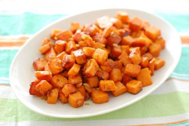 True Food Kitchen Sweet Potato Hash - Eating Made Easy- This on a bed of sauteed kale