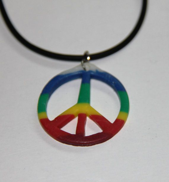 Rainbow Peace Sign Necklace Handmade Peace Sign by PurpleCatShop