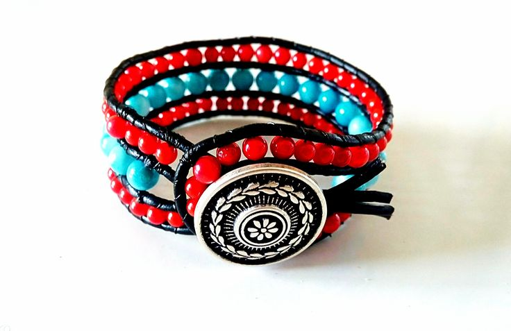 Red coral triple beaded cuff