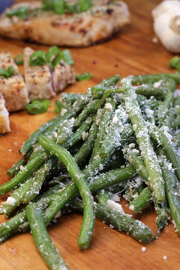 Crisp Garlic Parmesan Green Beans~~~~~Really good flavor, I would just blanch the beans a little bit longer.  Don didn't quite like so much crunch.~~~~~Rose