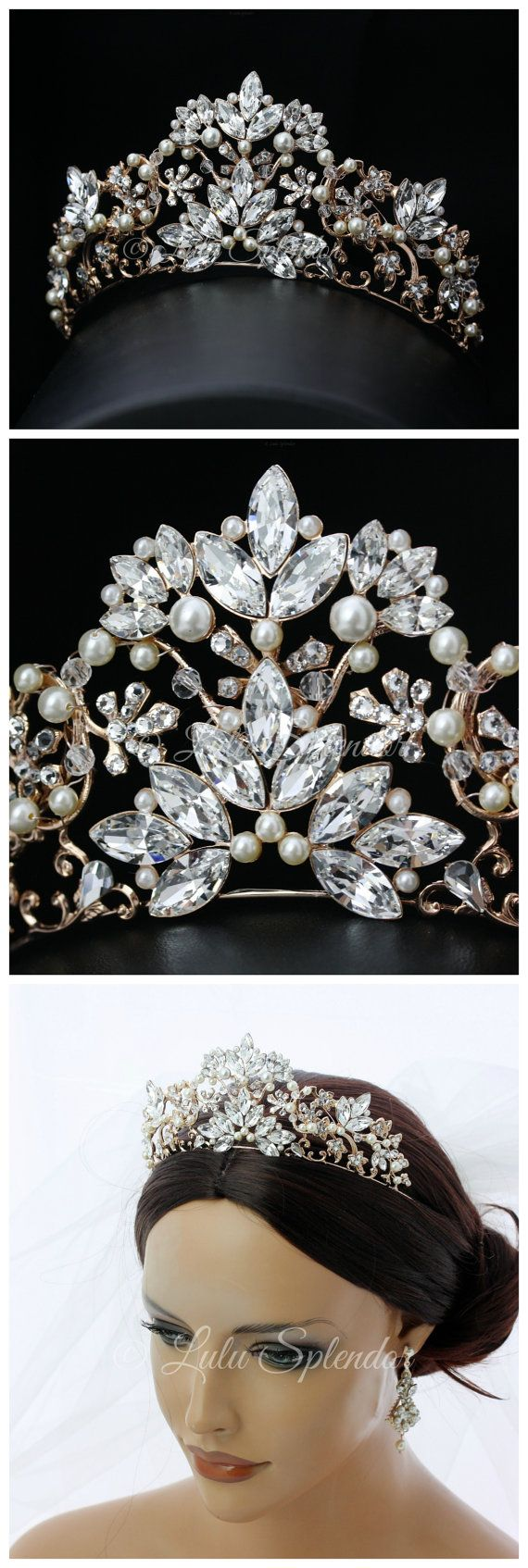 Bridal Tiara Rose Gold Wedding Tiara Swarovski Crystal Crown Tiara Wedding Bridal Tiara Headpiece SIAN
