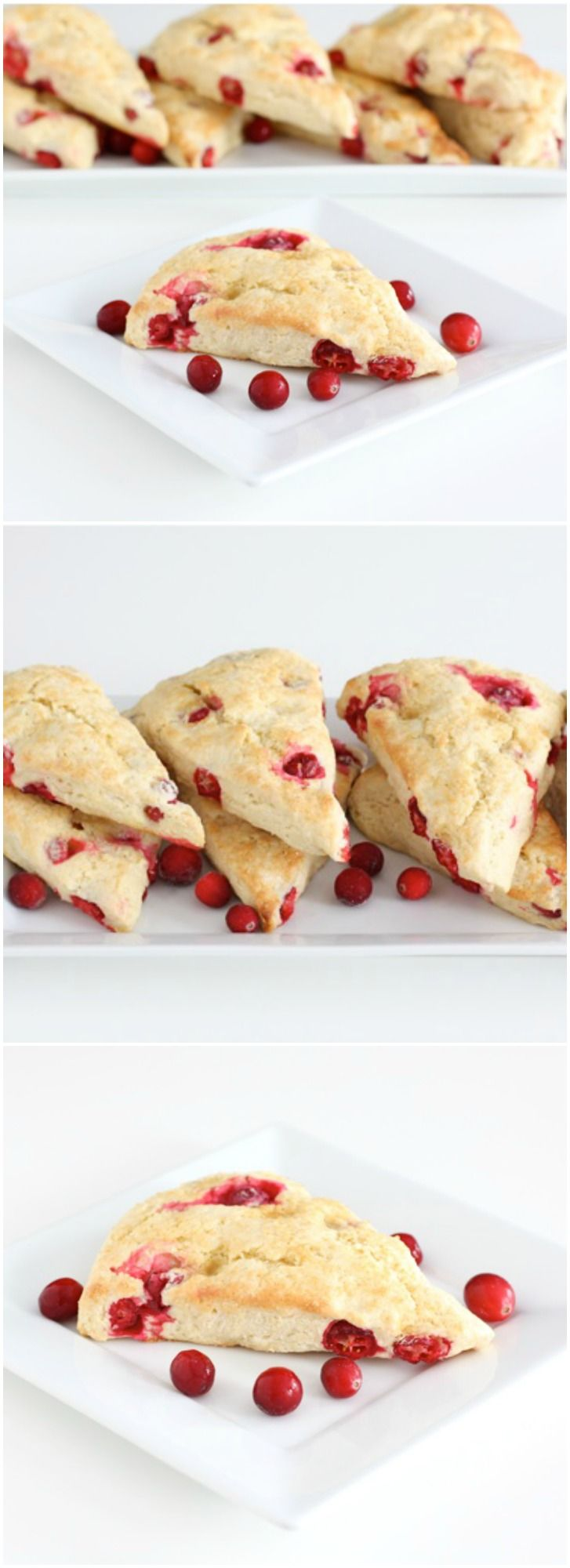Fresh Cranberry Scones Recipe on twopeasandtheirpod.com These tender and buttery scones have pops of juicy tart cranberries. They are the perfect scones for the holiday season!