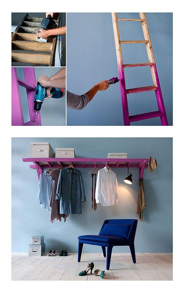Una vieja escalera se pude convertir en un grandioso perchero o estantería.