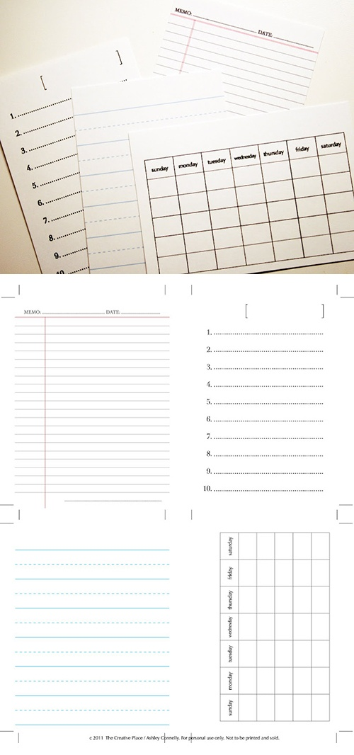 Classic journal cards - free printables: http://thecreativeplace.blogspot.ca/2011/06/diy-printable-journaling-cards.html