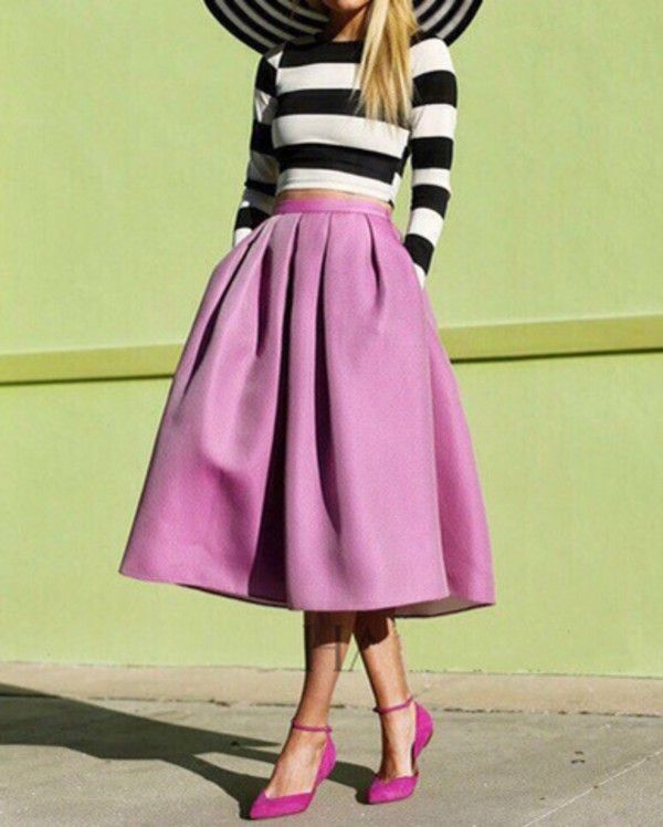 9cb4aecad There are 2 tips to buy skirt, pink dress, pink skirt, top, blouse, style,  striped dress, stripes, preppy, pleated skirt, fashion, elegant, teenagers,  ...