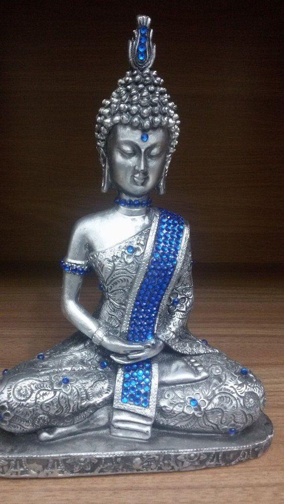 Buda tibetano prata com manto azul
