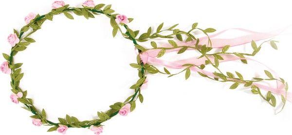 Roze bloemen krans voor kinderen : Deze krans voor kinderen is versierd met nep roze bloemen en kleine groene bladeren. Deze zijn bevestigd op een ijzerdraad. De krans heeft een diameter van ongeveer 17 cm.Deze bloemen krans...