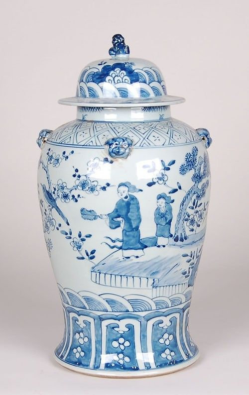 Blue and White Ginger Jar Vase with Foo Dog Lid from The Well Appointed House