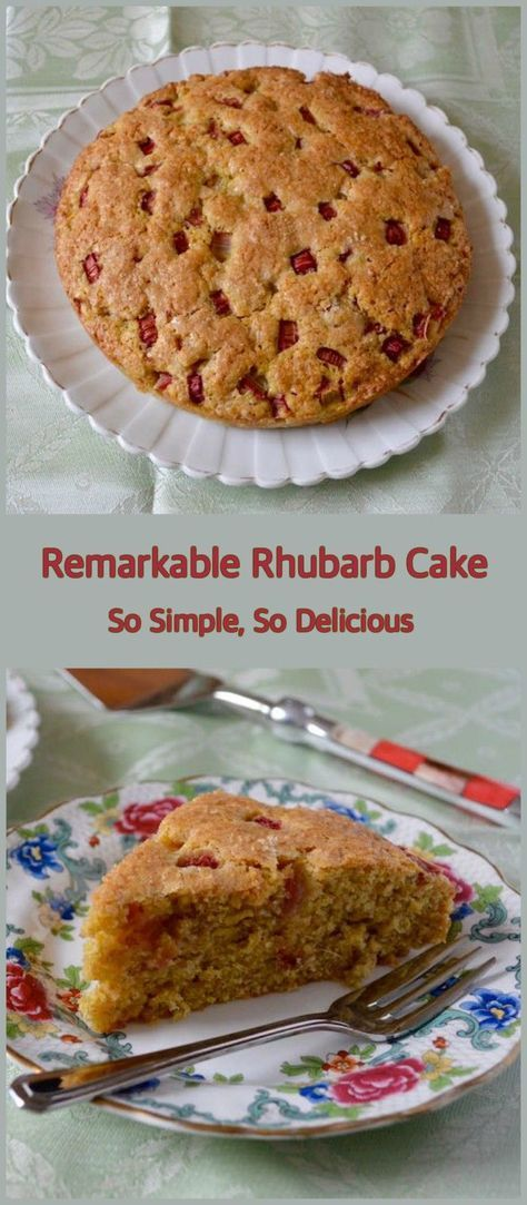 Remarkable Rhubarb Cake. An old-fashioned simple delight. Delicious served as a pudding or for afternoon tea. #baking #recipe #rhubarb #afternoontea