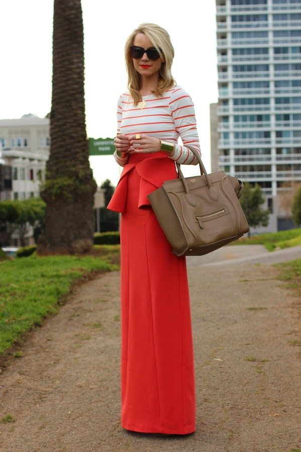 striped top with chic maxi skirt