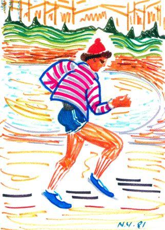Νέλλη Ανδρικοπούλου Άντρας που τρέχει στο Σέντραλ Πάρκ της Νέας Υόρκης, 1981.  Μαρκαδόροι σε χαρτί, 39,8 x 29,2 εκ. Συλλογή ΜΙΕΤ