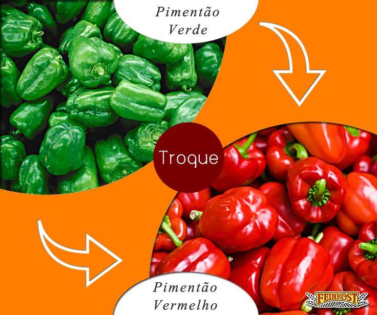 Troque o pimentão verde pelo vermelho: porque o vermelho tem 8x mais vitamina A, que ajuda a fortalecer o sistema imunológico. #Feinkost #TrocaSaudável #PimentãoVermelho