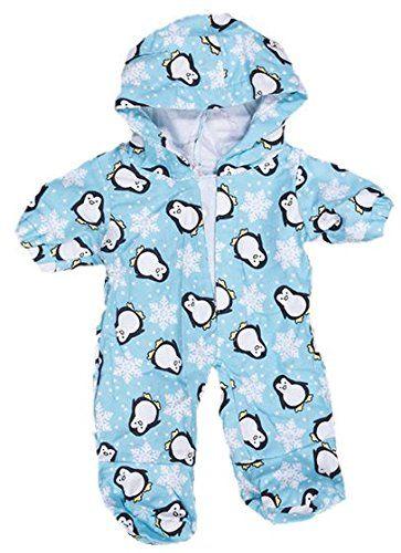 """Combinaison pyjama bleu """"Pingouin"""" 20cm - Vêtements pour nounours, ours en peluche, animaux en peluche #Combinaison #pyjama #bleu #""""Pingouin"""" #Vêtements #pour #nounours, #ours #peluche, #animaux #peluche"""