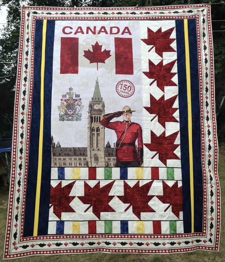 Mr. Mountie Quilt using Northcott Sesquicentennial and Stonehenge Oh Canada fabric lines. Created by Custom Creations Virden, MB Find us on Facebook: https://www.facebook.com/customcreationsvirden/?fref=ts