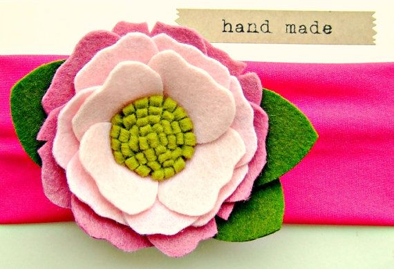 Peony Felt Flower Headband Summer Peony Pink by giddyupandgrow, $20.00