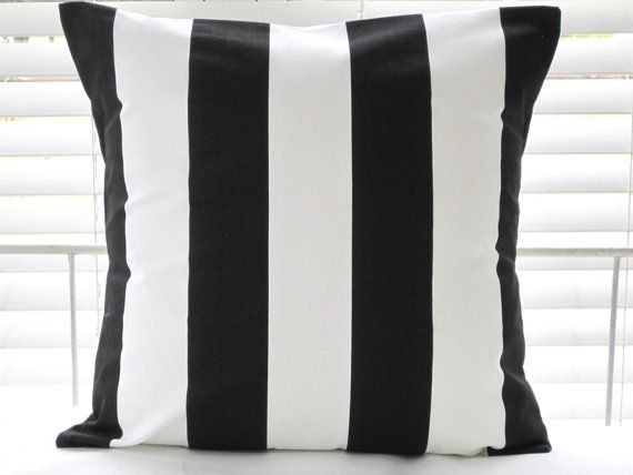Pillows Beach Decor Decorative Throw Pillows by PillowsByJanet, $17.00: Stripes Black, Black And White, Stripes Cushions, Wide Stripes, White Pillows, Cushions Covers, Canvas Wide, Ikea Vargyllen, Cotton Canvas