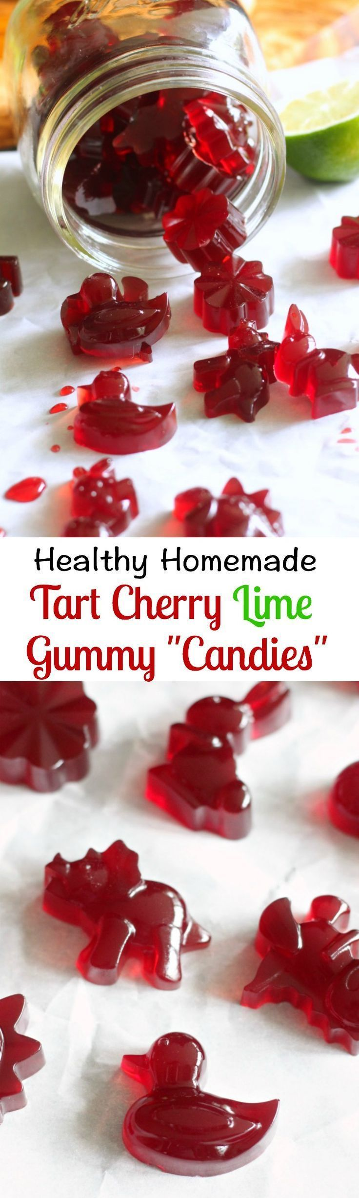 Healthy homemade tart cherry lime gummy candies made with grass fed gelatin - paleo and gut healing! Recipe sponsored by @vitalproteins(Paleo Bars Cherry)