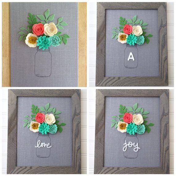 Nursery decor: Made To Order Grey burlap board Felt flowers by BlueHouseDesignz