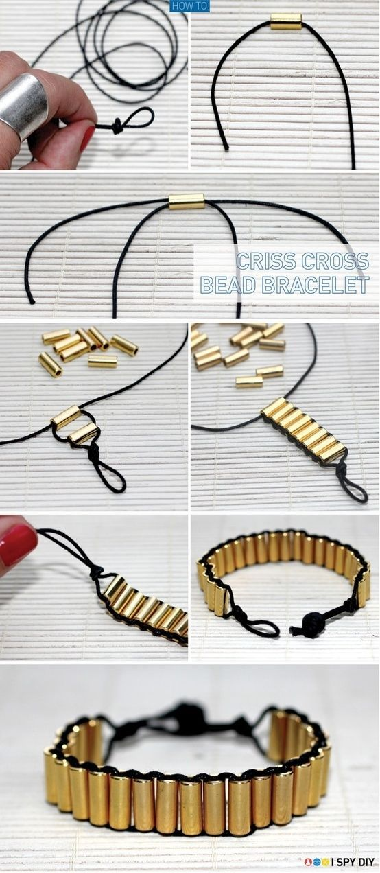 DIY jewelry ideas. Criss cross bracelet - use beads or .22 bullet