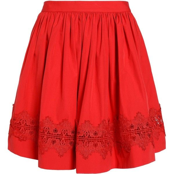 ALICE + OLIVIA   Lace-trimmed cotton-poplin mini skirt ($210) ❤ liked on Polyvore featuring skirts, mini skirts, red flared skirt, red mini skirt, lace trim skirt, red skirt and red short skirt