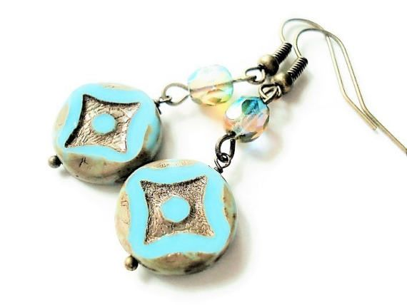 Mint Earrings Glass Jewelry Vintage Style Long by BeadPassionbyAB