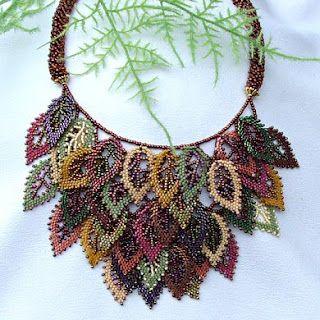 Necklace |  Beki Haley. Beadwoven leaves