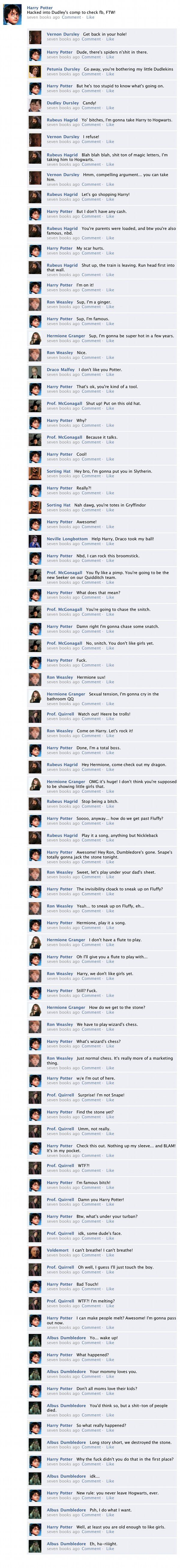 "The Entirety of ""Harry Potter and the Sorcerer's Stone"" in one Facebook Thread......haha its fantastic and worth the read"