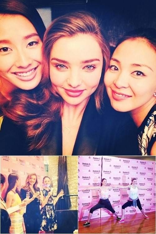 Choo Sarang's mother Yano Shiho enjoys cocktail and yoga with Miranda Kerr | http://www.allkpop.com/article/2014/04/choo-sarangs-mother-yano-shiho-enjoys-cocktail-and-yoga-with-miranda-kerr