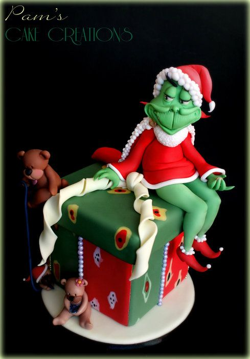 Grinch Cake by Pam's Cake Creations (12/25/2012)  View details here: http://cakesdecor.com/cakes/41174