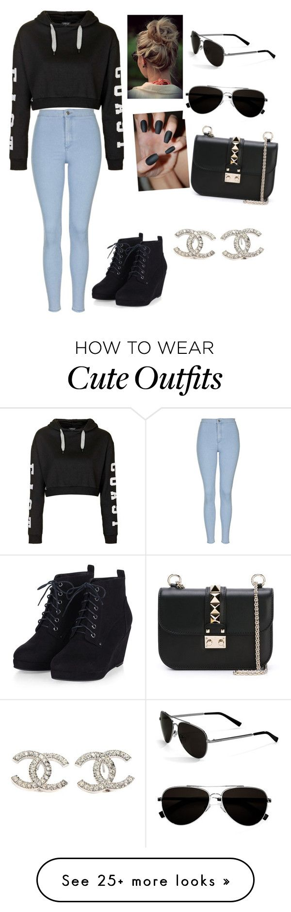 """Cute outfit"" by babygirltaetae on Polyvore featuring Topshop, Calvin Klein, Valentino, Chanel, women's clothing, women, female, woman, misses and juniors"