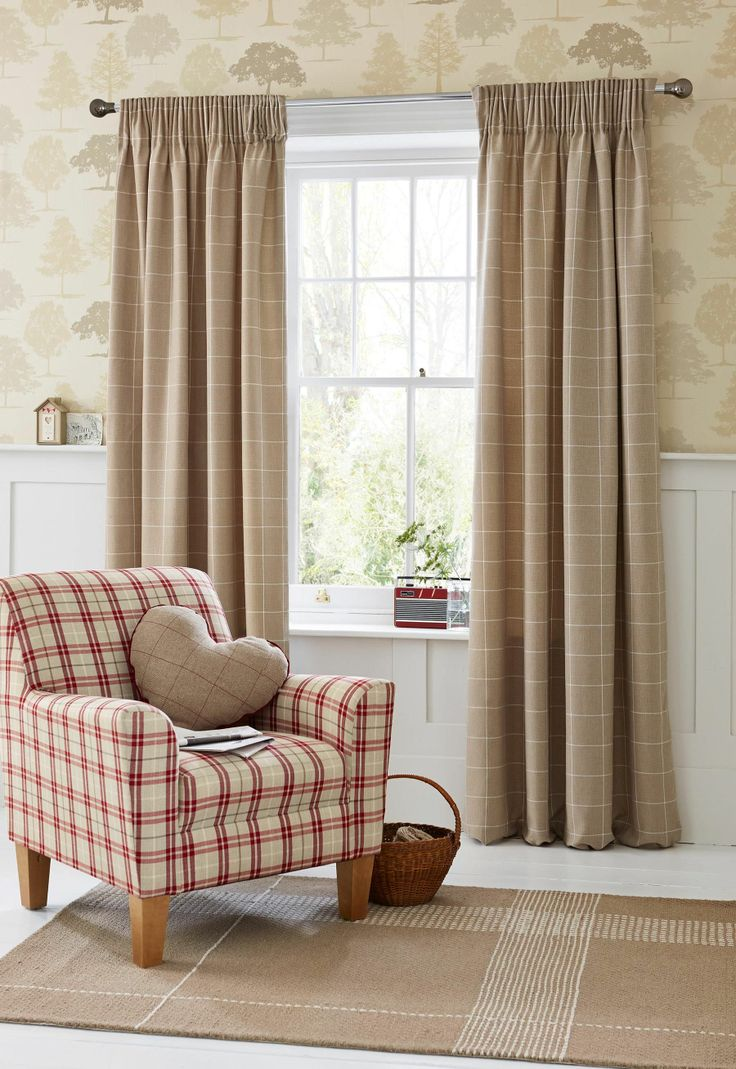 Buy Natural Homely Check Pencil Pleat Curtains From The Next Uk Online Shop Lounge Curtains
