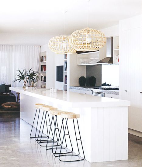 The Best Bright White Spaces// rattan light fixture, modern barstools, tropical kitchen, white kitchen: