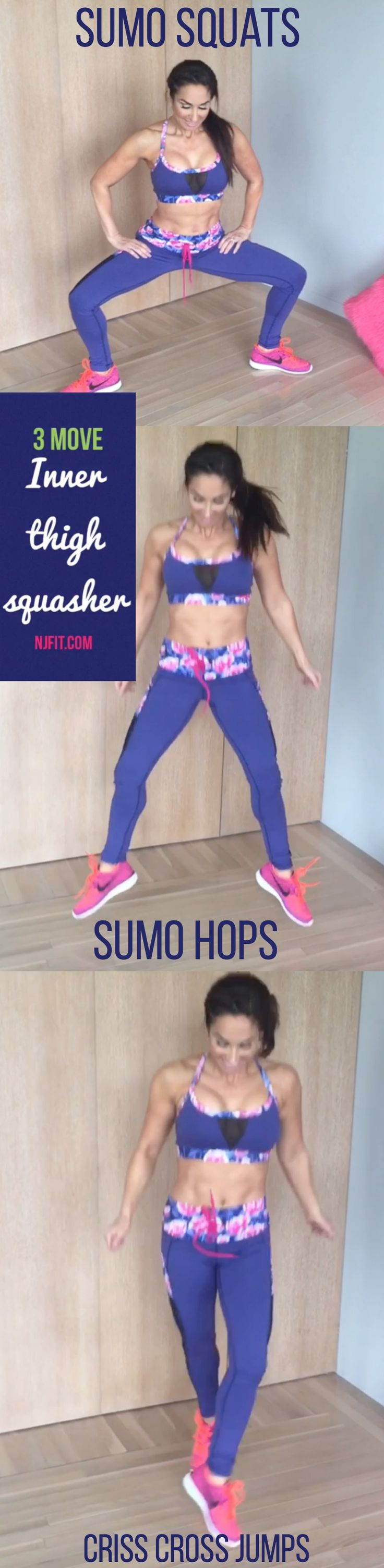3 move inner thigh squasher! ARE YOU IN?  Mini Sumo Squats Mini sumo hops Criss cross legs forward and back  Let's go! Click the image to watch full workout video.