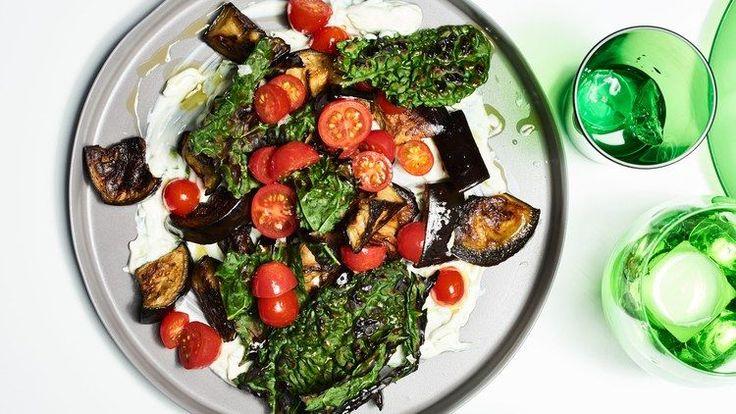 Roasted Eggplant and Crispy Kale with Yogurt | Bon Appetit