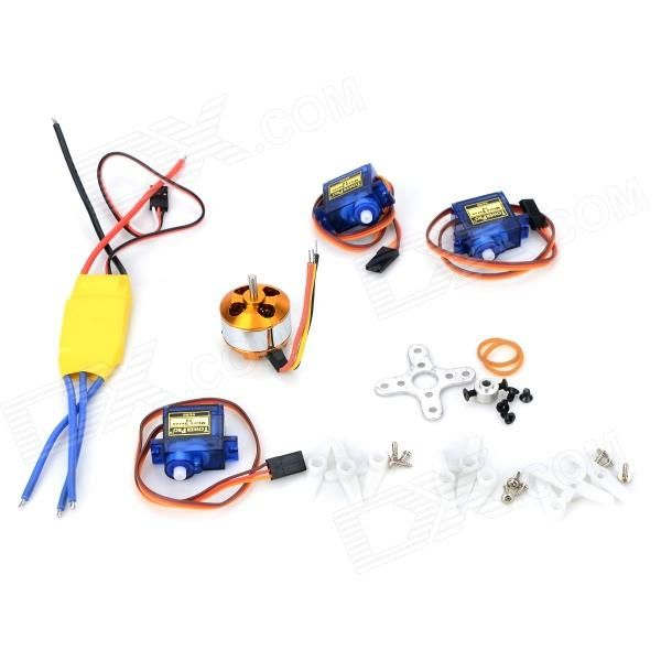 A2208 1500KV 30A ESC Servo SG90 Fixed-Wing Aircraft Set - Multicolored. Color Others, Material Copper + aluminum + abs Quantity 5 Piece Compatible Model Fixed-wing aircraft Packing List 1 x 30A ESC 1 x A2208 1500KV 3 x SG90 Servo. Tags: #Hobbies #Toys #R/C #Toys #Other #Accessories