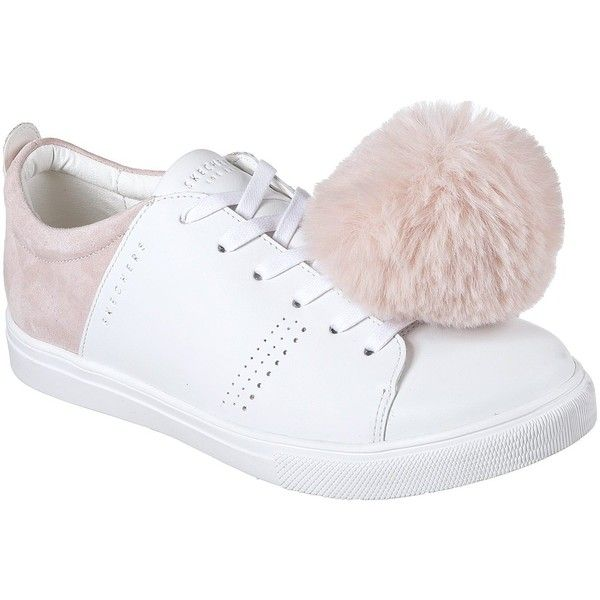 Skechers Women's Moda - Pom Street White - Skechers ($65) ❤ liked on Polyvore featuring shoes, white, stitch shoes, laced up shoes, skechers footwear, pom pom shoes and white shoes