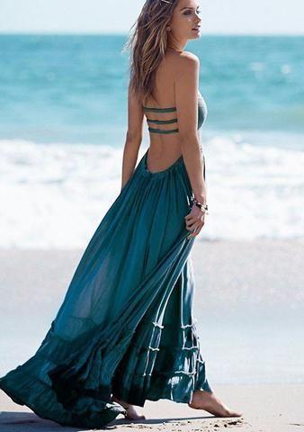 46b5db953c2e Beach Dress Sexy Boho Backless Maxi Bohemian Dress