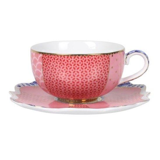 superbe tasse à café de couleur rose, de la collection royal, décoration florale raffinée s'associe avec le reste de la collection Royal