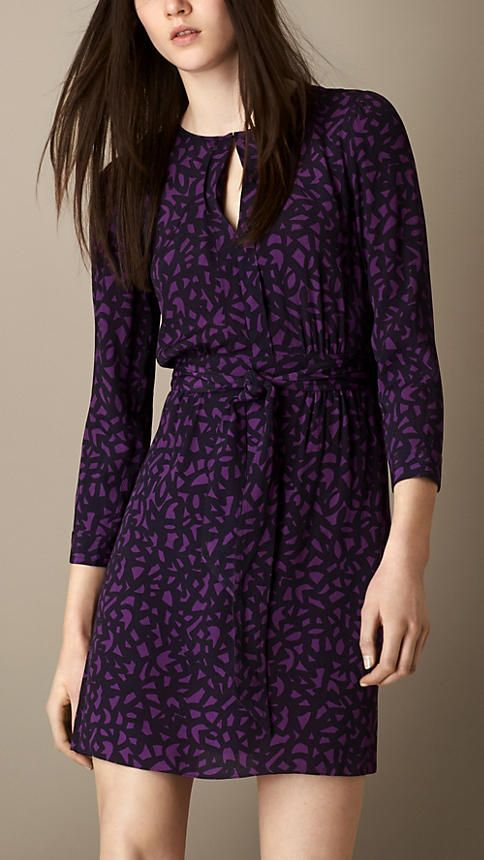 Burberry Brit Geometric Print Crepe Dress