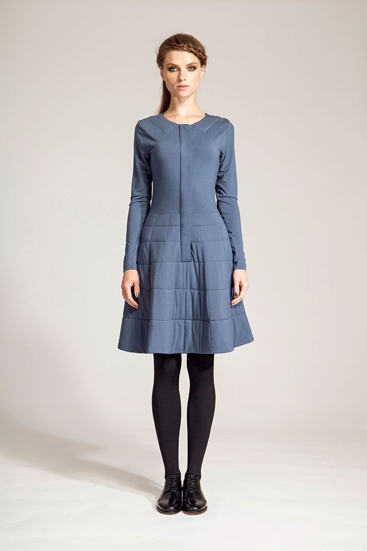 IMRECZEOVA FW16 grey blue dress with quilted skirt